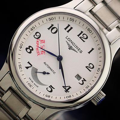 002 高仿 浪琴 男表 全自动机械 日历 动力储能显示 钢带 皮带.